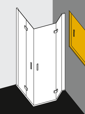 Individual shower enclosures - Examples - Combination of Diga two part corner entry (two part hinged door with folding mechanism), half segment and pentagon shower enclosure (two part hinged door with folding mechanism), half segment