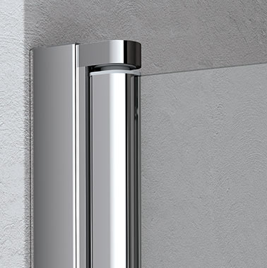 Kermi shower enclosure - Liga - Detailed picture of wall profile with articulated joint