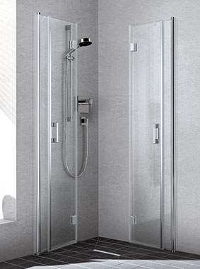 Kermi shower enclosure - Liga - Corner entry with two part folding doors