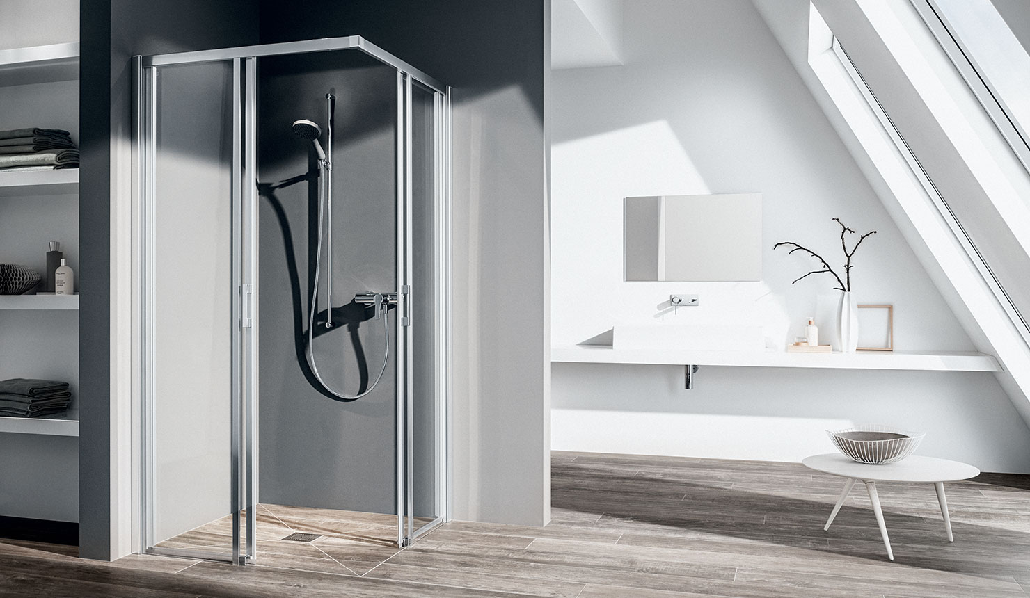 Kermi shower enclosure - Liga - Corner entry