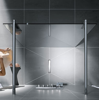 Kermi Walk-In shower enclosure on Line wet floor system - Bird's eye view