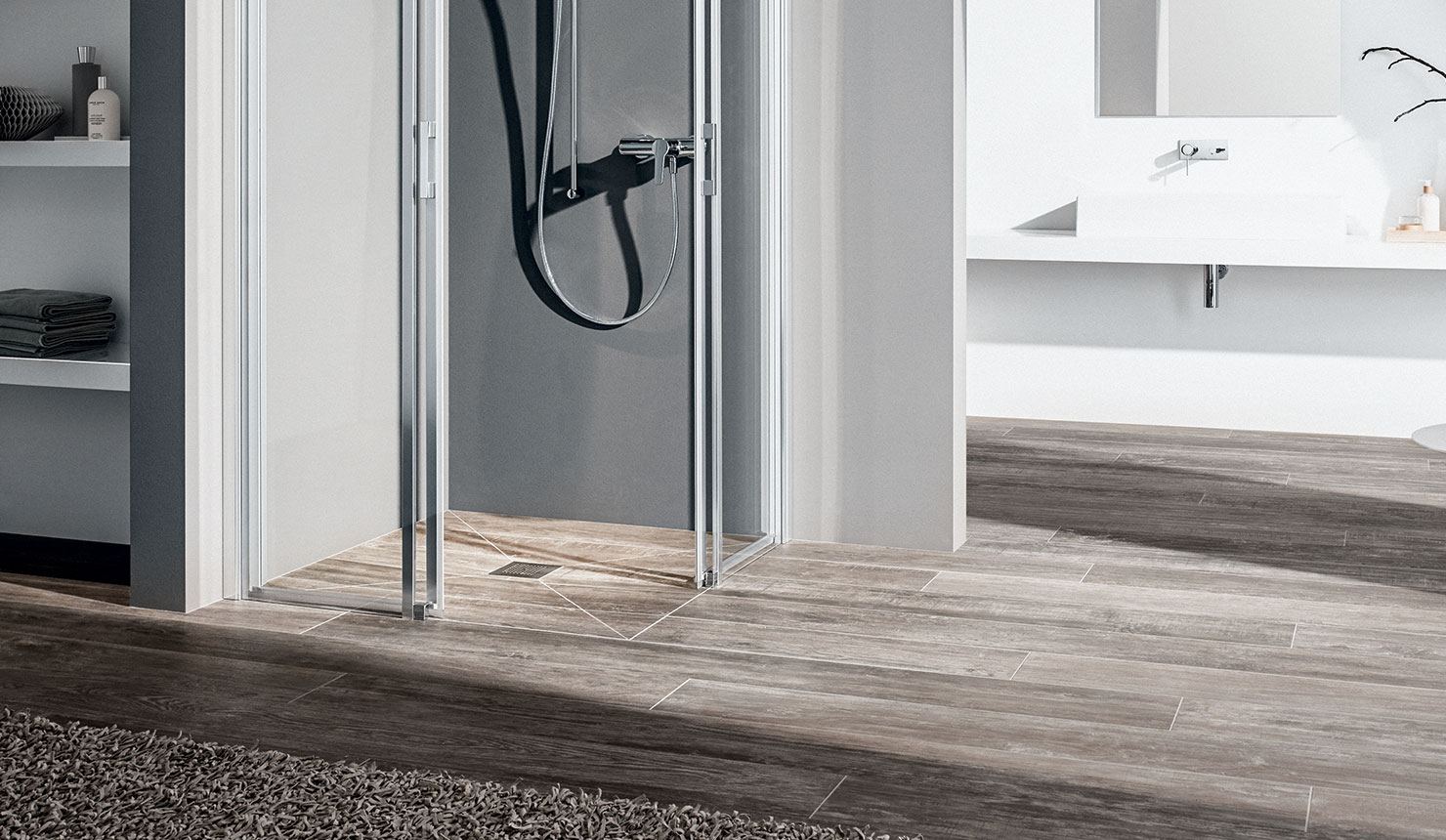 Kermi shower enclosure Liga on Point wet floor system - Detailed picture