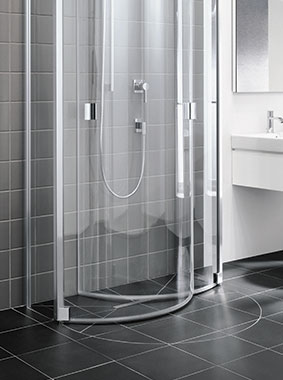 Kermi shower enclosure Raya - Semi-circle - Detailed picture: space-saving function