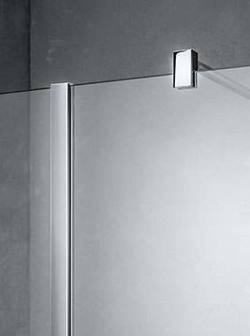 Kermi Walk-In XB WALL with wall profile and wall support - Detailed picture