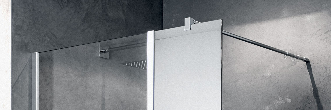 Kermi Walk-In XB WALL with wall profile and fixed panel aligned - Detailed picture